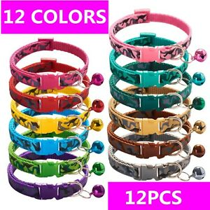 Lot 12 Pet Cat Camo Collar Nylon Small Dog Adjustable Puppy Bell Buckle Kitten