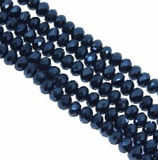 Metallic Blue Faceted 6mm Rondelle Beads 90 Piece Luster Glass Crystal Beads