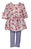 d5d6a2f7c9fe Bonnie Jean Bell Sleeve Floral Print Flounce Dress and Blue Legging Pants  Set