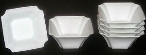"""6 Octagonal Shape White Porcelain Soup Rice Bowls 5"""""""