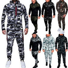 Men's Camo Tracksuit Hoodie Hooded Coat Jacket Tops Jogger Pants GYM Sportswear