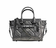 NWT COACH SWAGGER 27 CARRYALL 34547 Metallic Leather PATCHWORK GUNMETAL $550