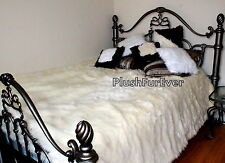 "96"" x 120"" Luxury Shaggy Faux fur bedspread coverlets White Cal King Size"