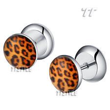 TT Clear Epoxy Yellow Leopard Surgical Steel Fake Ear Plug Earrings (BP36)