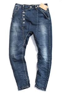 Lexxury Damen Jeans Baggy Boyfriend blau Hose Stretch Sommer Glitzer Risse 8133