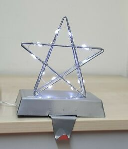 Light Up Gold Silver Stars Stocking Holders 20 Micro Cool/Warm White LED lights