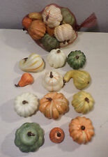 12 PC SM PUMPKINS GOURDS LIGHT FALL COLORS HOME DECOR THANKSGIVING CRAFTS NEW