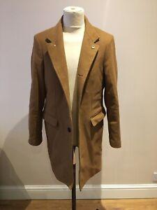 Mens Zara Jacket Size M Tanned Wool Blend Smart Evening Coat
