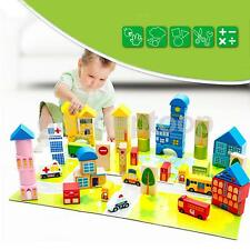 62 Wood City Traffic Building Blocks Bricks Wooden Construction Set With Tub
