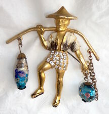 Chinese Water Carrier PIN Brooch Venetian Lampwork Beads Rhinestones Enamel Deco