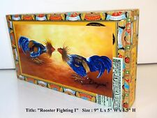 """Exclusive Cigar box with """"Rooster"""" artwork on top. Mother;s day gift"""