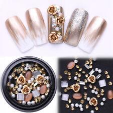 Metal Rose Round Opal Crystal Gemstone Beads Rhinestones 3D Nail Art Decoration
