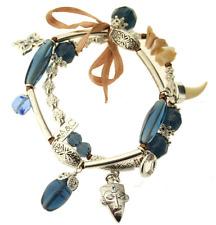 £50 Tribal Aztec Tooth Silver Blue Charm Bracelet Swarovski Elements Crystal