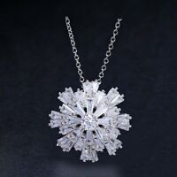 24MM Three-dimensional Snowflake White Topaz Gemstone Silver Necklace Pendants
