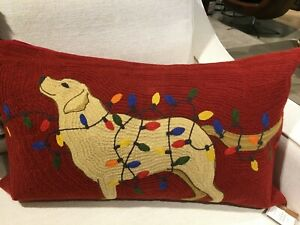 New Pottery Barn Tangled Lab Crewel Embroidered Pillow Cover Dog Light Christmas