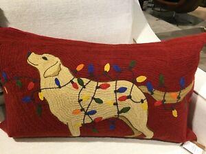 New Pottery Barn Tangled Lab Crewel Embroidered Pillow Cover Dog Light Christmas
