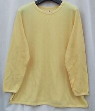 WOMAN WITHIN 1X 22/24 Yellow Thermal Waffle Weave Cotton Blend Knit Top Shirt