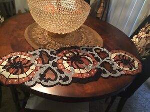 Pier 1 HALLOWEEN And FALL Gorgeous Glam Spider Web Beaded Table Runner NWT WOW