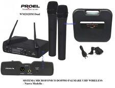 PROEL WM202DM DUAL DOPPIO RADIOMICROFONO + 2 PALMARI GELATO SISTEMA UHF WIRELESS