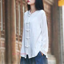 Women Chinese Tang Suit Shirt Cotton Linen Top Martial Arts Kongfu Tai Chi jx01