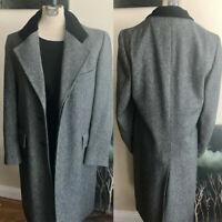 Men's Vintage Overcoat Gray Herringbone Wool Outwear Business Wedding Jacket