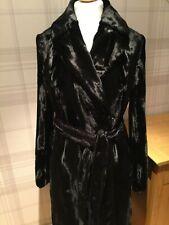 KAREN MILLEN Black Pony Faux Fur Wrap Coat UK12 RRP £399