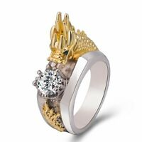 Men's Sliver Domineering Dragon Rings Gold/Silver Color White Sapphire Band Gift