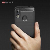 """ShockProof Cover Silicone Soft TPU Carbon Fibre Case For Xiaomi Redmi 7 (6.26"""")"""