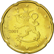 [#463018] Finland, 20 Euro Cent, 2001, MS(65-70), Brass, KM:102