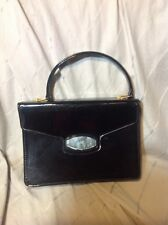 Vintage Patented Leather Purse Lucite Bakelite Accent Meyers Made in Usa