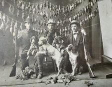 Vintage Photo LARGE Shooting Shotguns Dogs 1900's market hunter ORIGINAL 7x9