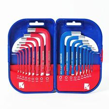 WORKPRO 18PC Short Arm Hex Key SAE Metric Cr-V Steel Allen L Wrench Tool Set New