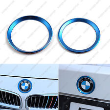 2x Blue Front Rear Logo Decoration Ring Covers for BMW 3 4 Series M3 M4 E36 E46