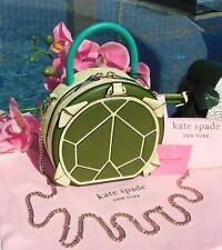 🌸 Kate Spade Andi Turtle Canteen Bag Mini Chain Leather Green NEW $348