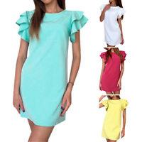 Women's Summer Casual Short Sleeve Party Evening Cocktail Beach Short Mini Dress