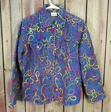 Chico's Jacket Jean Bright Colored Cordings Yarn Women's Size 0 Super Cute!