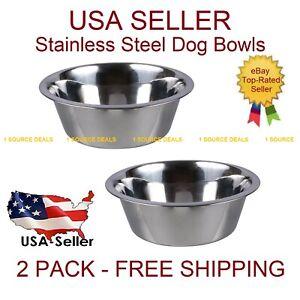 (2) Stainless Steel Dog Cat Pet Bowl Large 52.4 oz  Food or Water Bowl Dish