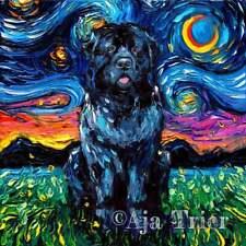 Newfoundland Wall Art Print Dog Starry Night Newfie van Gogh Decor by Aja