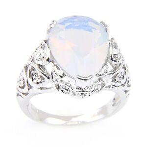 Novel Teardrop Rainbow Moonstone Gemstone Silver Rings Size 7~9 Holiday Gifts