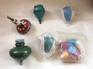 LOT OF 9 ANTIQUE / VINTAGE EARLY  WOODEN SPINNING TOY TOPS