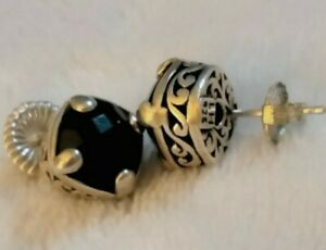 Lois Hill Sterling Silver Scroll Onyx Faceted Stud Earrings
