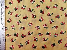 CHERRIES  CHERRY PRINT ON YELLOW 100% COTTON FABRIC  BY THE 1/2 YARD VINTAGE