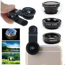 3 in1 FishEye Wide Angle Macro Telephoto Lens Camera for iPhone 6 PLUS 5 5S BK +