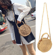 Women Bohemia Straw Bag Woven Round Handbag Crossbody Summer Beach Bags Girls UK