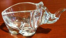 """Sasaki Crystal Elephant Nut Candy Dish Japan Heavy about 3"""" Thick Glass Trunk Up"""