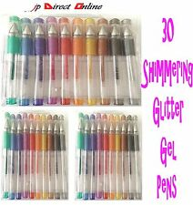 30 X PACK GLITTER GEL PENS MIX SHIMMERING GLOSSY Colours Writing School Arts New