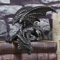 Silent Assasin Gothic Crouching Dragon With Open Wings Shelf Sitter Statue Decor