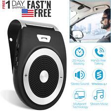 Wireless v4.1 Handsfree Speaker For Phone MP3 Car Kit Sun Visor Clip Drive