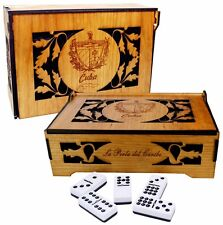 Professional size domino set on carved wood box with Cuban Coat of Arms