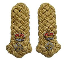 Shoulder Board Ladies Gold Lieutenant General Crown Crossed sword & Baton R1732